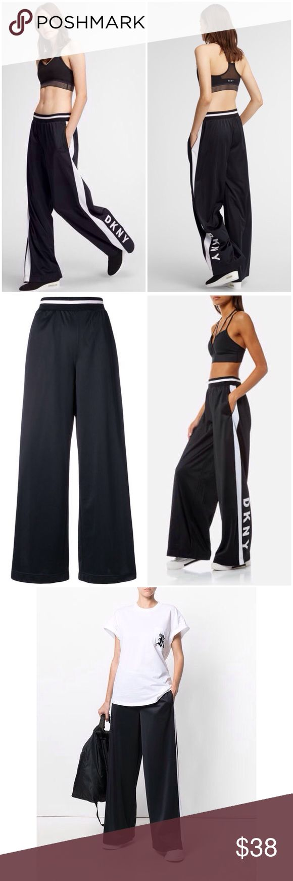 """SALE ✨ DKNY SPORT Flare Leg Track Stripe Logo Pant """"A sleek take on a street-ready classic, these wide leg pants are a volumious choice for the woman of today. Nodding to DKNY's past with the iconic logo detail, the smooth legs of this piece drape downwards in an elegant style, accentuated by the traditional track pant-style stripe motifs.""""  - Elasticated waistband - Side pockets - Wide leg - Flocked iconic logo to the side - 100% Polyester Dkny Pants Track Pants & Joggers"""