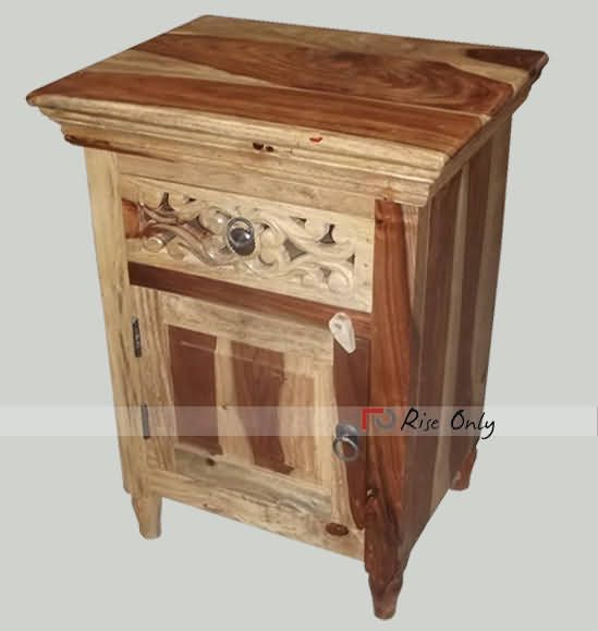 Wooden Carving Night Stand Bedside Table, Hand Crafted Indian Wooden  Bedside. http/