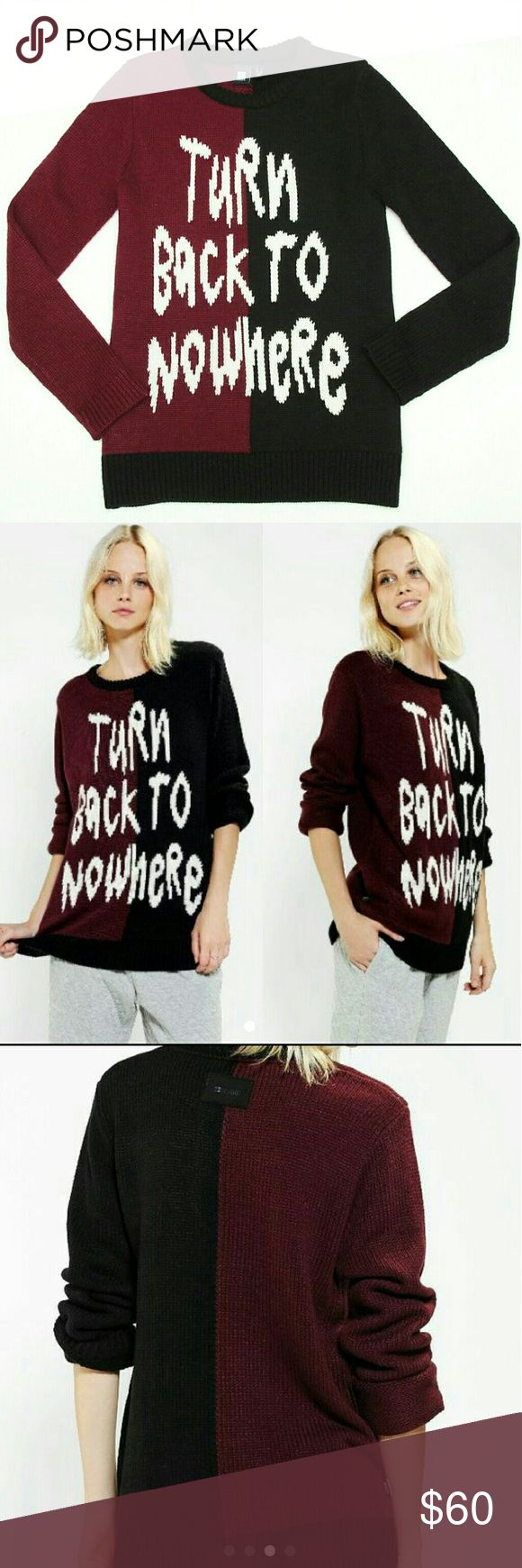 """FINAL Turn Back Urban Outfitters Sweater """"Turn Back to Nowhere"""" Urban Outfitters exclusive sweater by Insight Size XS $110 retail, sold out Excellent lightly preowned condition  Tags sweater flatlay outfit fashion color block trendy cozy fall winter urban outfitters uo tumblr unique cool pop punk top 21 pilots twenty one pilots 1975 the1975 zara topshop jumper pullover graphics existential existentialism quote burgundy black wildfox dollskill Urban Outfitters Sweaters Crew & Scoop Necks"""