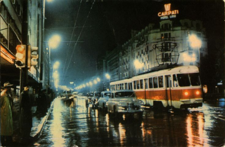 Romania - Bucharest [014] - 1961 - front | RetROmania #58  Wonderful 1961 nightview postcard from Romani, Bucharest / Bucuresti, featuring GAZ-M20 Pobeda / ГАЗ-М-20 Победа + vintage tram + others