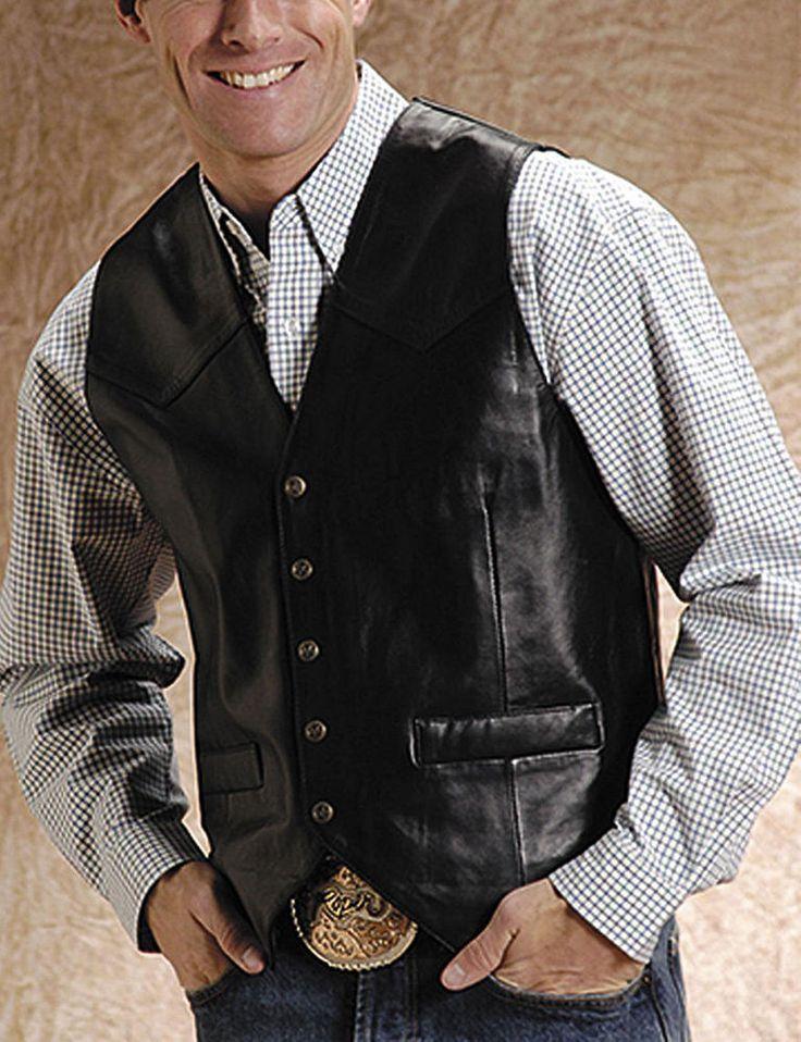 Roper Western Vest Mens Leather Vest Snap XL Black 02-075-0520-0500 BL #Roper #Western