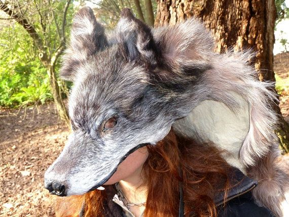 RESERVED Wolf hood/cape headdress - real wolf fur totem dance costume, beautiful silvered black color - purified for shamanic ritual work
