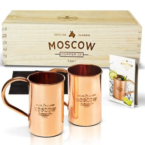2-Pack of Original Moscow Mule Copper Mugs Wrap your fingers around The Original 100% Pure Copper Moscow Mule Mug and you will experience that same feeling Grandma Sophie felt when she created this mu