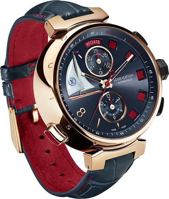 ♂ Man's accessories - Louis Vuitton Tambour Regatta Spint Time red & dark blue watch
