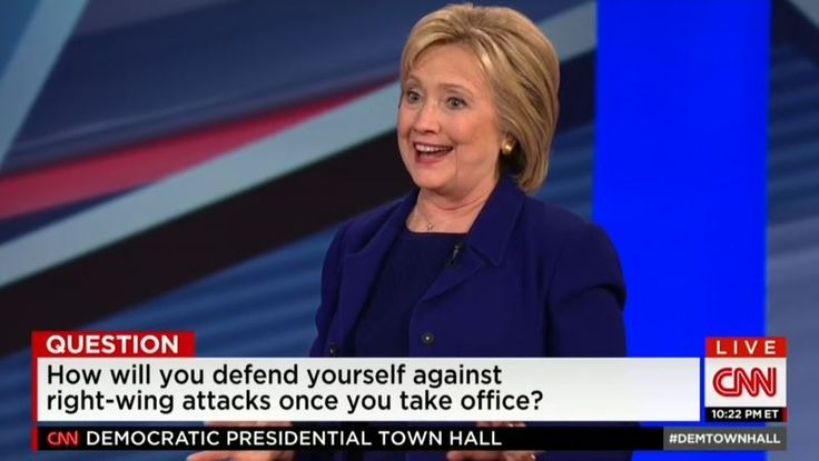 """02-03-2016  Hillary Clinton faced one of the biggest softballs of the campaign yet on Wednesday night when a questioner at CNN's Democratic Presidential Town Hall wondered about how she will """"defend"""" herself """"against right-wing attacks"""" """"[o]nce you become the nominee and elected.""""In a follow-up, moderator Anderson Cooper teed her up by wondering if she """"still believe[s] there's vast right-"""