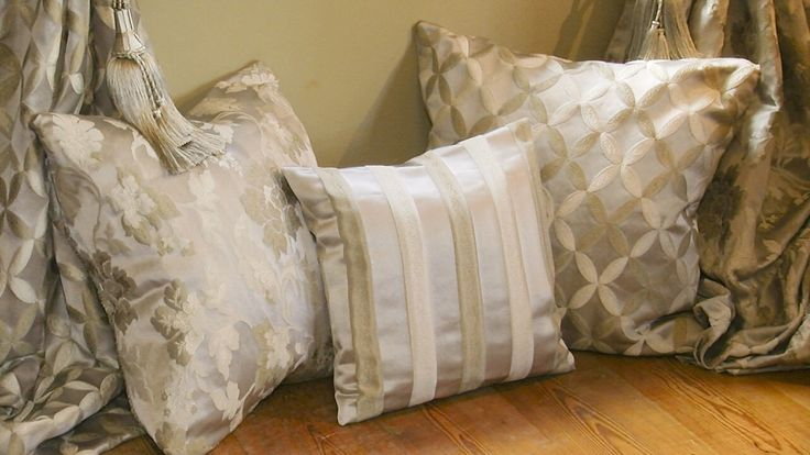 We make beautiful cushions. Choose any fabric from our website and call 00353(45)879663 to order.   Chateau Trellis 606 ,Chateau Stripe 605 and Chateau Floral 604