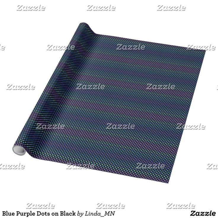 Blue Purple Dots on Black Wrapping Paper