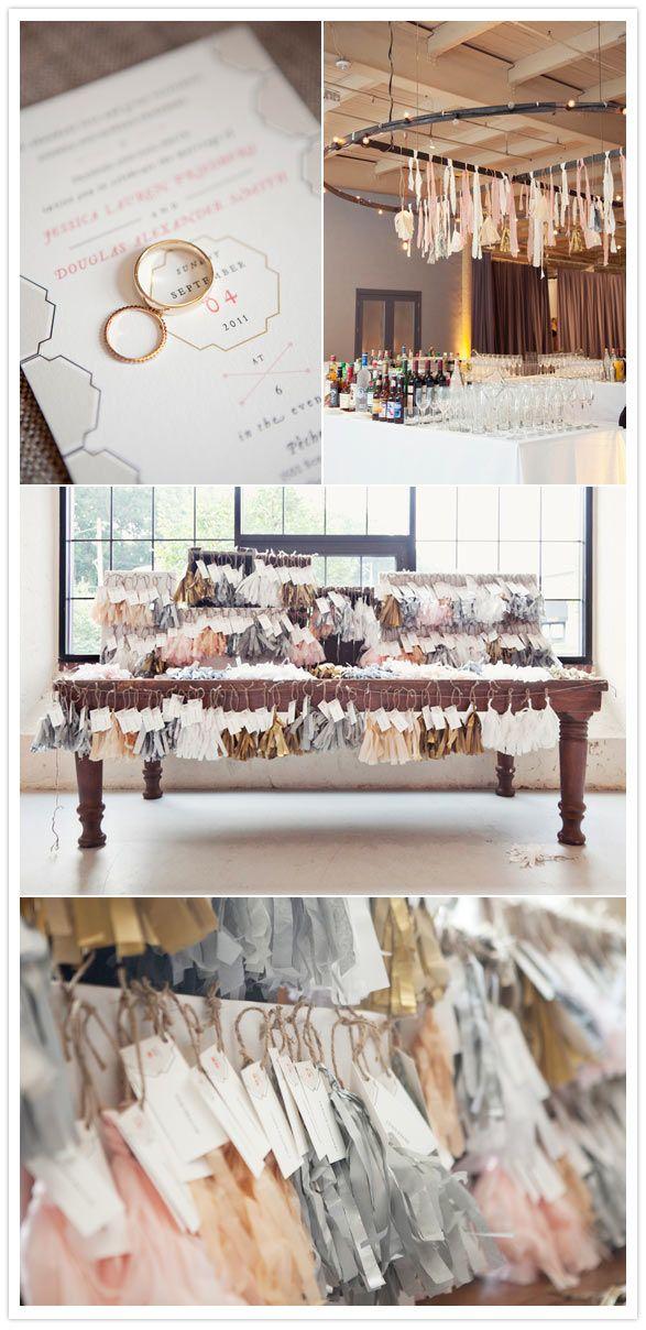 .: Philadelphia Wedding, Escort Cards, Color, Modern Industrial, The Bride, Tasselsw Ideas, Ribbons Wands, Tassels Wedding Ideas, Places Cards