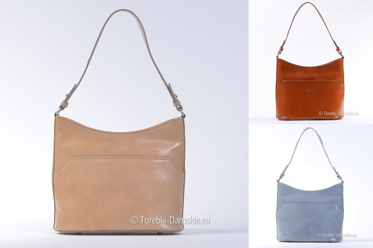 Torebka ze skóry naturalnej w kolorze beżowym, jasnoszarym, jasnobrązowym #handbags #fashion #torebki