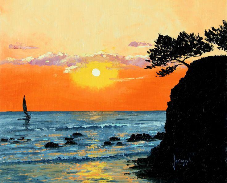 """Sunset"" 46x55 cm Jean-Marc JANIACZYK Landscape painter"