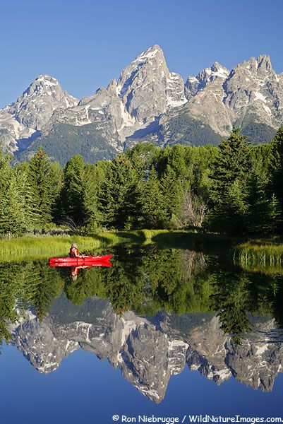 #WYOMING - Grand Teton National Park. I would love to be in that little red boat with a picnic lunch and a good book!