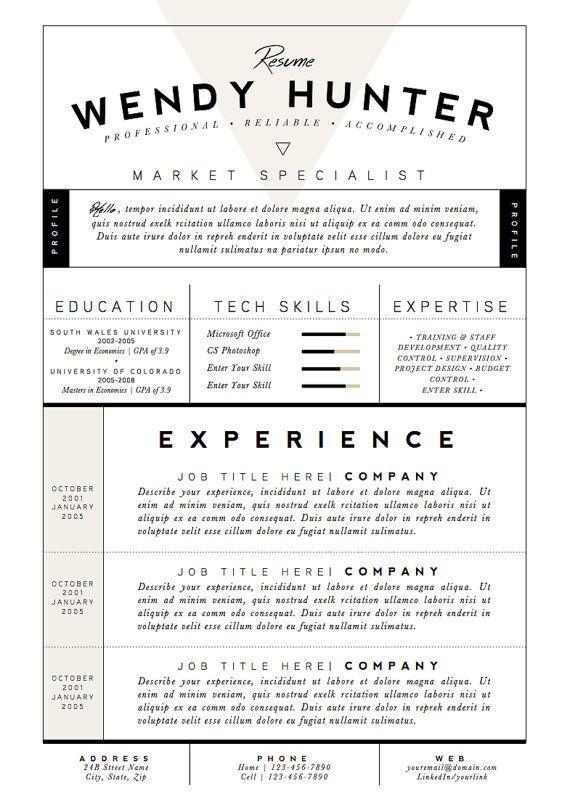 Resume Template / CV Template Cover Letter for di OddBitsStudio