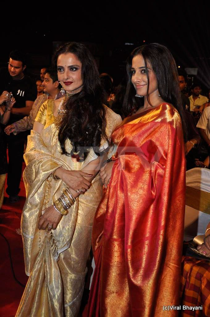 Rekha and Vidya Balan in their kanjeevaram sarees. Wear it in style, wear it with pride..