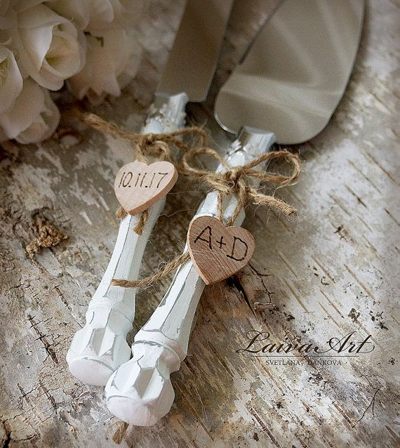 Rustic Wedding Cake Server Set & Knife Cake Cutting by LaivaArt