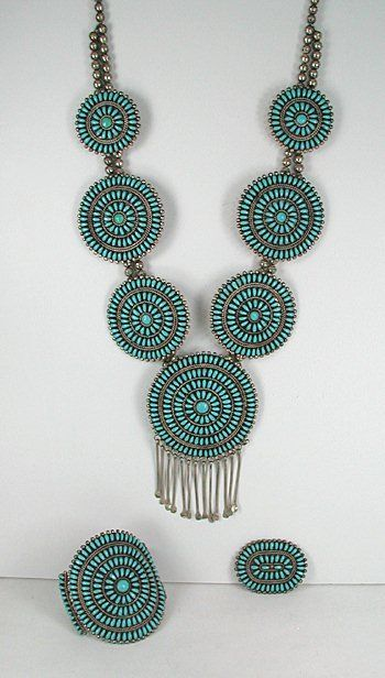 Authentic Native American Vintage sterling silver Turquoise Petit Point Set by Navajo Phillip Byjoe