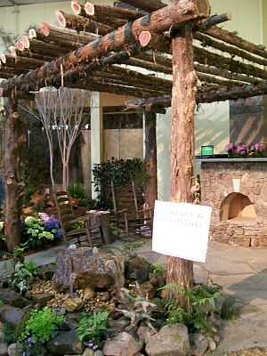 Log Pergola and Fire Pits | This rustic pergola is perfect for our fire pit area. And I shouldn't ...