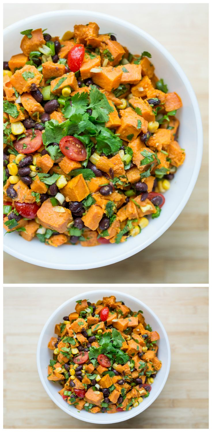 The BEST roasted sweet potato salad recipe. So easy to make, perfect for a BBQ or potluck. Tastes even better the next day! (Gluten-Free, Vegan)