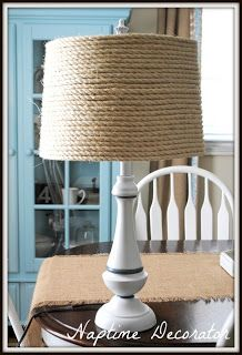 Super easy diy project for my boys nautical room...some jute, old lamp shade, and my hot glue gun :)