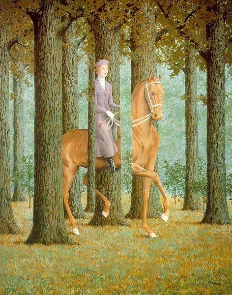 ¤ Le Blanc-seing, (1965) René Magritte. Dans ce tableau, toutes les perspectives sont des parallèles. il paraît très réel grâce à la perspective très réussie des troncs d'arbres, des frondaisons. exemple, une ligne de fuite passe en diagonale par la patte arrière droite du cheval, le pied de la femme, la tête du cheval et une branche.