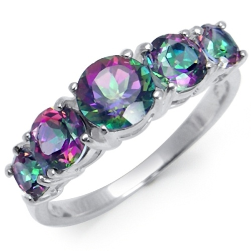 2 78ct 5 Stone Mystic Fire Topaz 925 Sterling Silver Ring Ebay