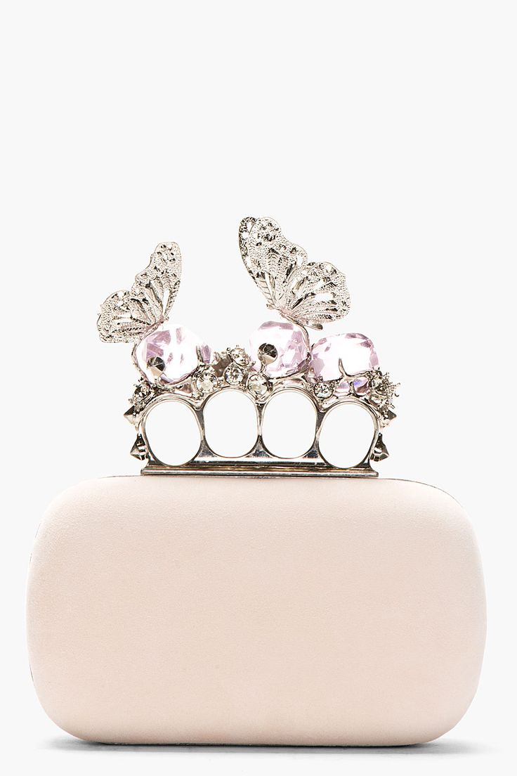 ALEXANDER MCQUEEN Pink Suede Crystal Encrusted Butterfly Knucklebox Clutch -ShazB