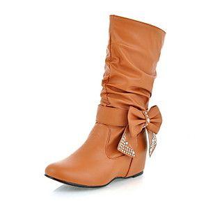 scarpe da donna slouch stivali tacco piatto a metà polpaccio con bowknot più colori disponibili