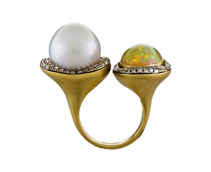 Suel South Sea Pearl and Opal Diamond Ring USD 12,790. 18K yellow gold band width : 3mm, ethiopian opal : 14mm x 10.5mm : 4.57cttw, australian south sea pearl : 13.5mm diameter, white diamonds : .61cttw, size available : 6