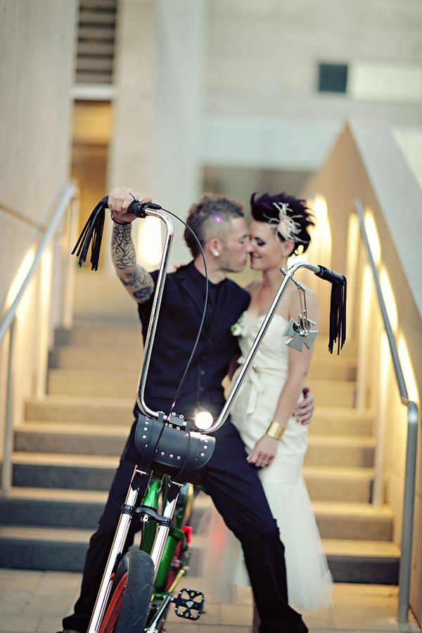 I absolutely adore this shot, rock & roll punk rock alternative wedding. For an Eddie and a Columbia, this is a must have!