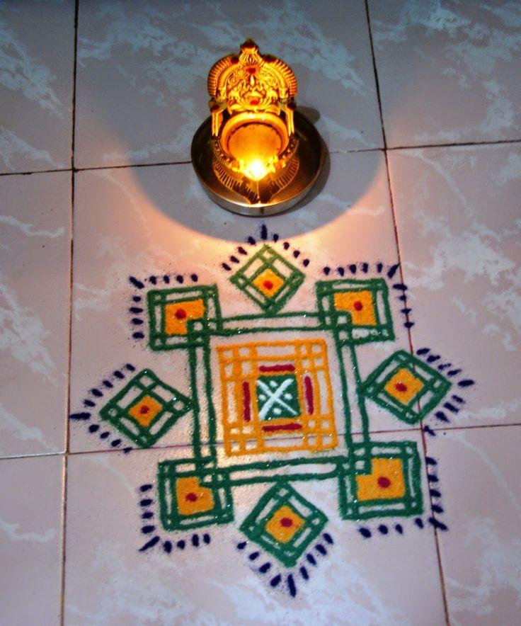 Rangoli and Art Works: GREEN N YELLOW SQUARES