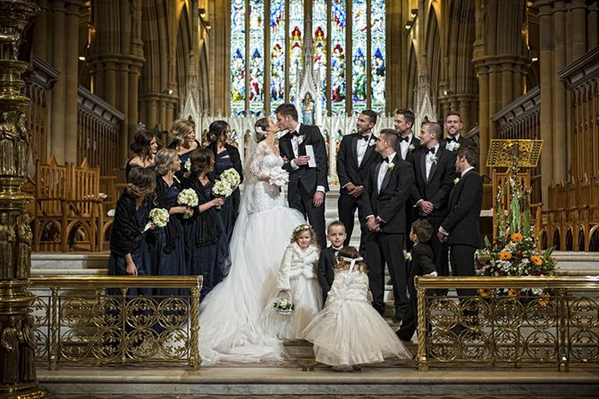 A bridal party can't help but look grand at St Mary's Cathedral #markjayphotography #sydneyweddingphotographer #weddingphotography #bridalparty #bride #groom #weddingday #weddingdress #suzannablazevic