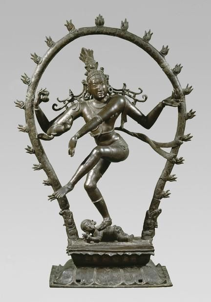The sculpture depicts the Hindu deity Shiva as Nataraja, the lord of dance, dancing in a ring of fire as he tramples Apasmara, the demon of human ignorance, underfoot. National Museum of Denmark (Inv.no. Da.161)