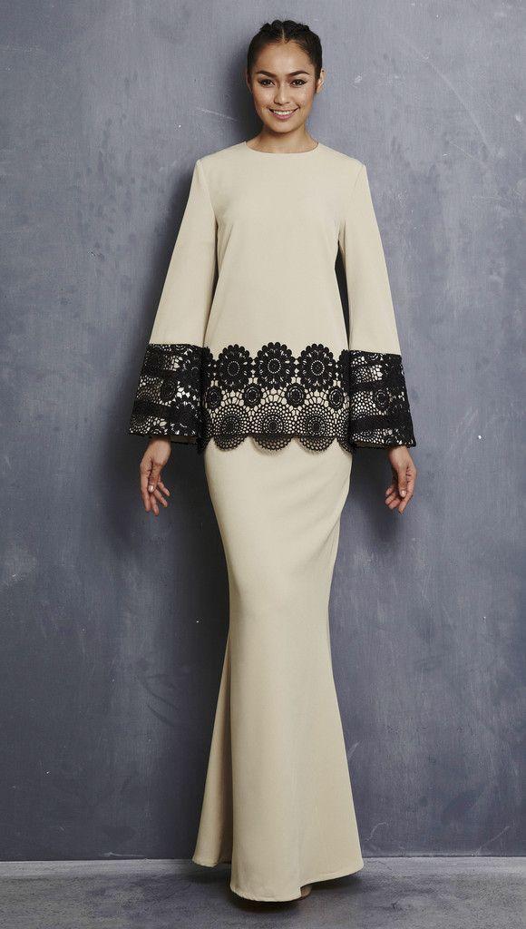 EMEL X LIYANA JASMAY - LOLA - Modern Kurung with Sequin Bell Sleeve (Nude)