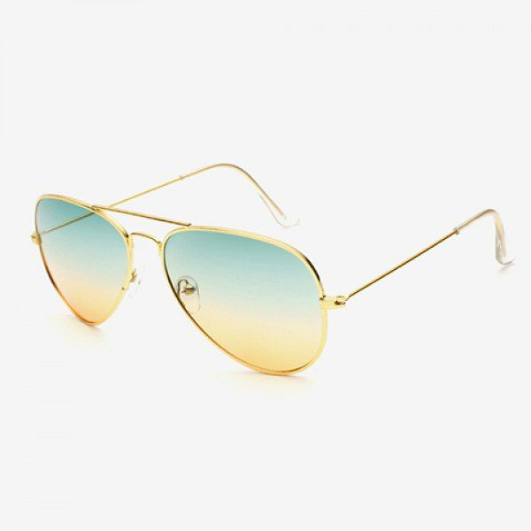Chic Gradient Color Lenses Golden Metal Women Aviator's Sunglasses #CLICK! #clothing, #shoes, #jewelry, #women, #men, #hats, #watches