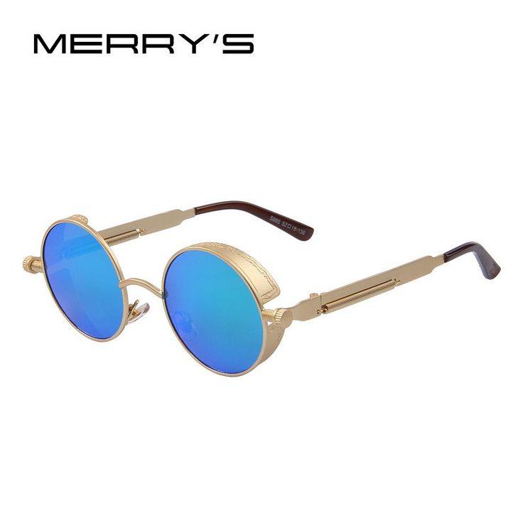 MERRY'S Vintage Women Steampunk Sunglasses Brand Design Round Sunglasses Oculos de sol UV400