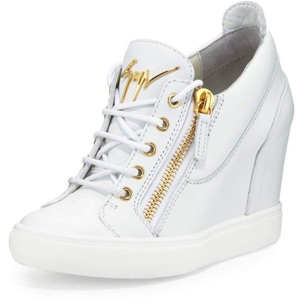Giuseppe Zanotti Lorenz Zip-Front Wedge Sneaker ($795) ❤ liked on Polyvore featuring shoes, sneakers, white, wedge sneakers, white shoes, white sneakers, giuseppe zanotti shoes and hidden wedge sneakers
