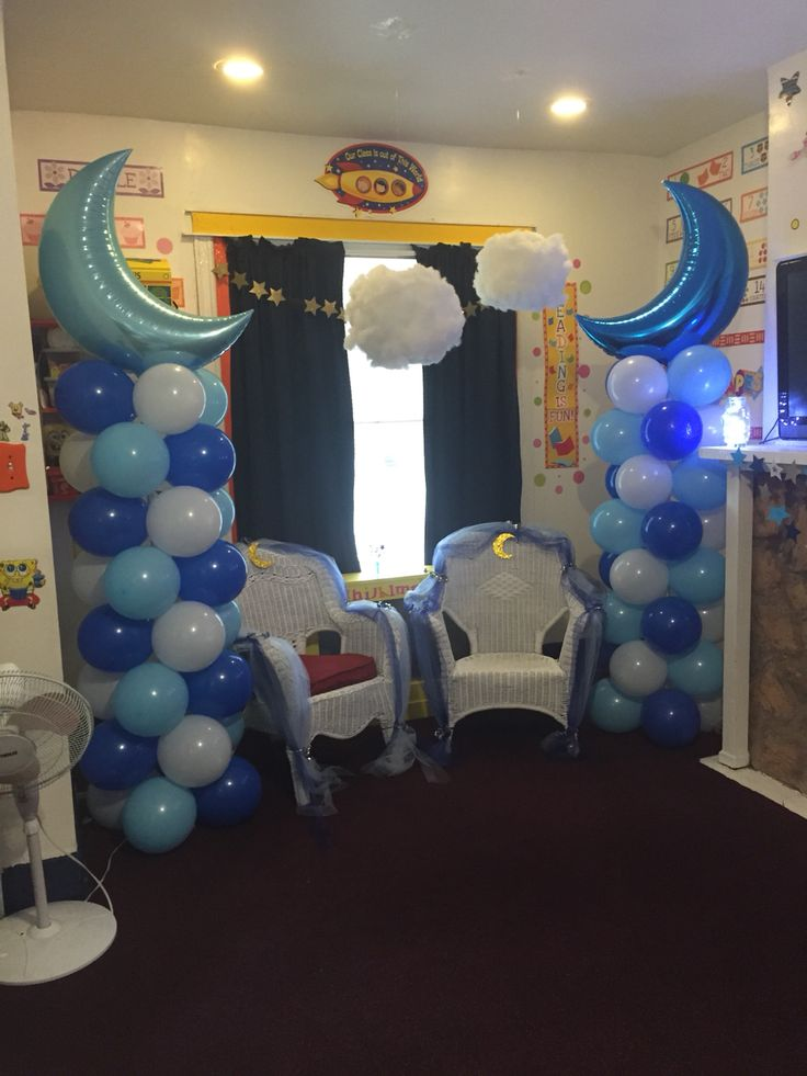 Twinkle Twinkle Little Star Moon Balloon Column Idea And Decorated Chairs For The Soon To Be