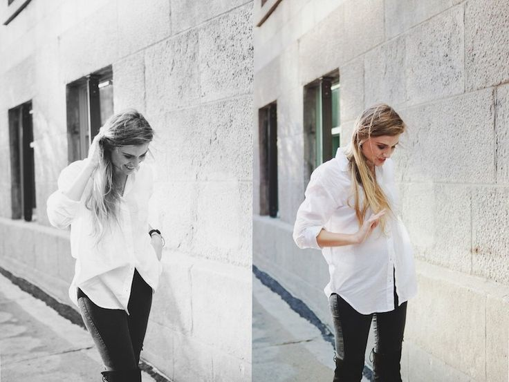 Over the knee boots and boyfriend shirt outfit 😍🙌... | Street Fashion