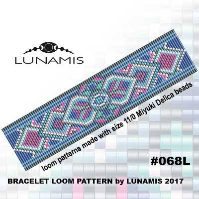 Loom bracelet pattern, loom pattern, square stitch pattern, pdf file, pdf pattern, cuff, #068L by LunamisBeadsPatterns on Etsy