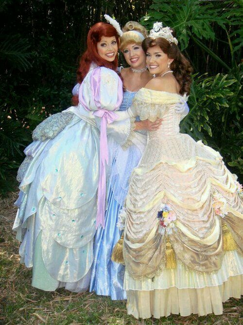My Sissy and her two Sissy Friends dressed up for Disney Princess Day