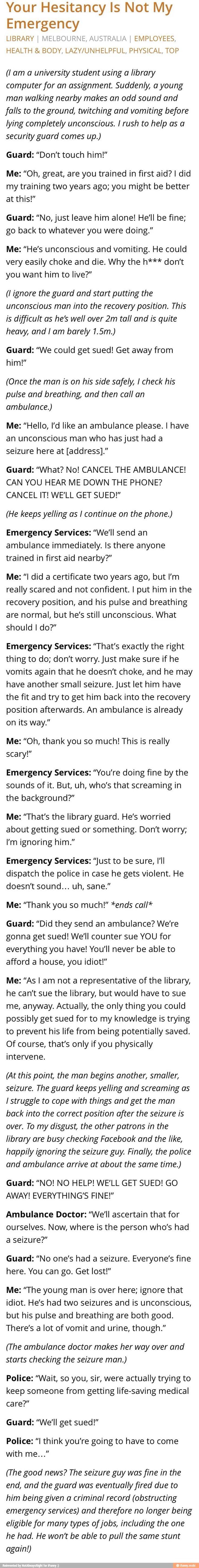 Your Hesitancy is Not My Emergency