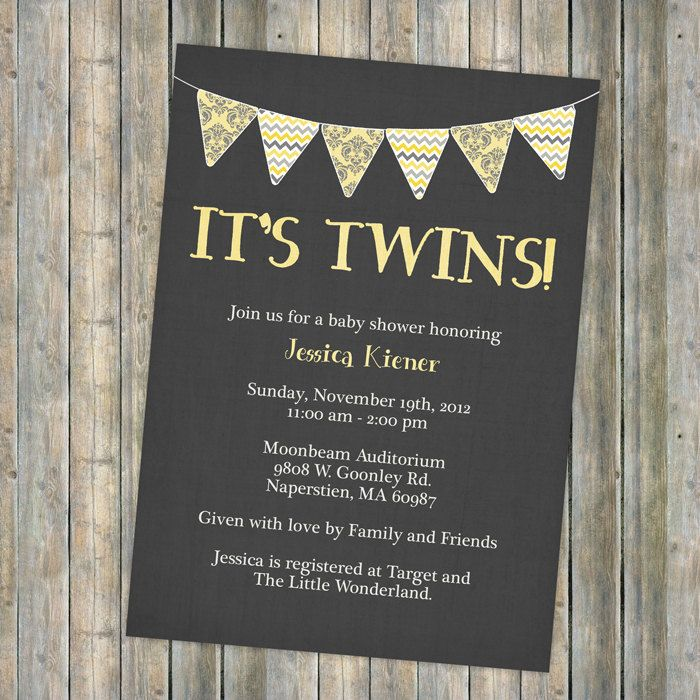baby shower invitation for twins%0A banner  it u    s twins  twin baby shower invitation  Digital  Printable file   any
