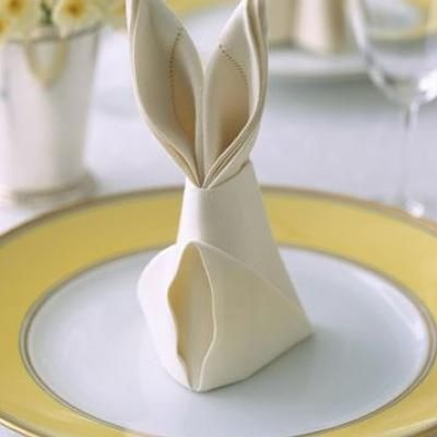 Make a stunning display out of your napkin for Easter by creating this delightful bunny. A great idea for you Easter luncheon or dinner.