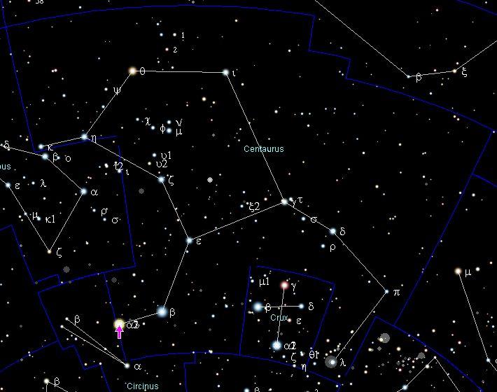 """Estrela Alpha Centauri. """"Constelação do Centauro""""."""