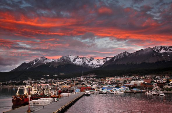 Sunrise over the harbour town of Ushuaia