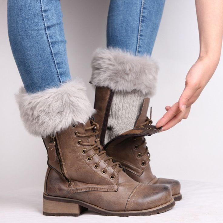 新しい2017秋ニットレッグウォーマー用女性レディース冬フェイクファーかぎ針編みレッグウォーマー袖口トッパー短いライナーブート靴下