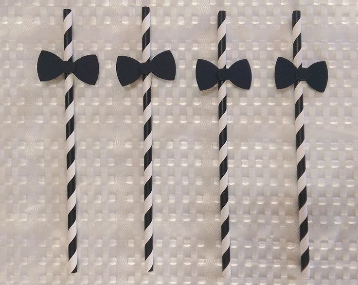 Bow Tie Decoration on 20 Black Paper Straw
