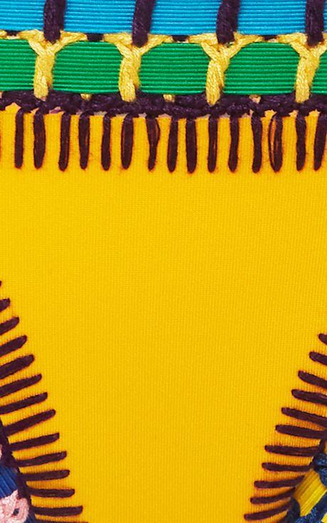 Ro Neon Threaded Yellow Bikini Bottom by Kiini Now Available on Moda Operandi