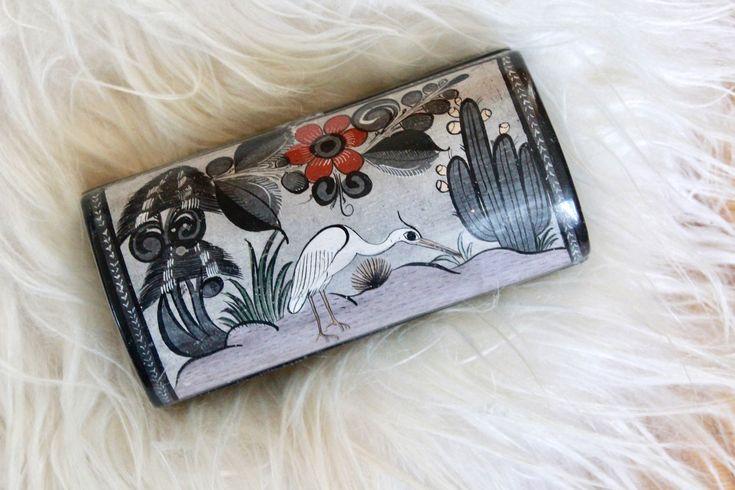 Vintage Tonala Ceramic Box /Vintage Mexican Ceramic Box/Vintage Hand Painted Box/ Cigarette holder/ Vintage Trinket Box /Vintage Jewelry box by VelvetPoppyVintage on Etsy