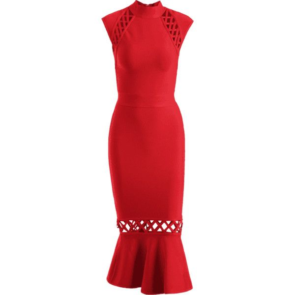 Hollow Out Criss Cross Bandage Dress ($46) ❤ liked on Polyvore featuring dresses, zaful, red dresses, red bandage dress, criss-cross dresses, bandage cocktail dresses and bandage dress