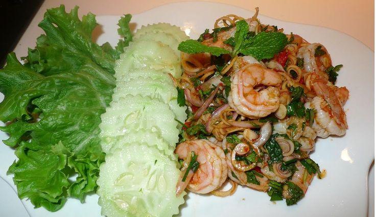 "Thai spicy shrimp salad with lemongrass or ""Plah Gung: พล่ากุ้ง"" in Thai. I had it before last time we went to Bangkok. I have Thai friend c..."